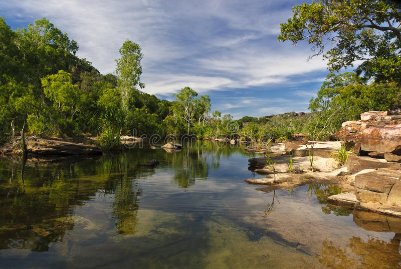Pools above twin falls in Kakadu. NAtional Park, northern territories, australia royalty free stock image