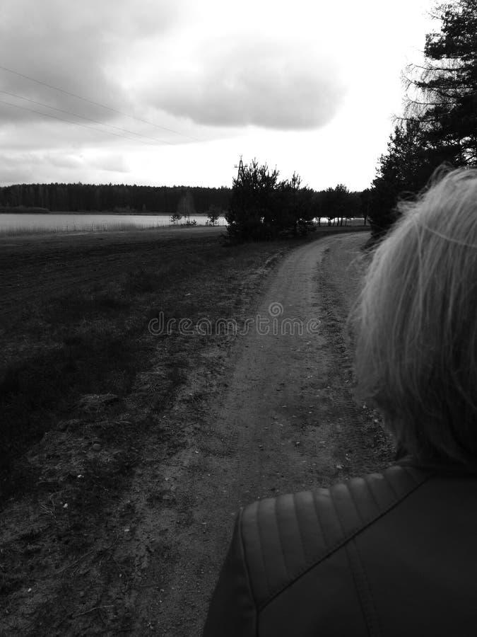 Pools dorpsplatteland Artistiek kijk in zwart-wit royalty-vrije stock afbeeldingen