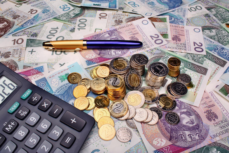 Pools geldsalaris royalty-vrije stock foto's