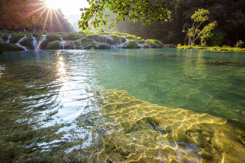 Pools in Guatemala. Beautiful natural pools in Semuc Champey, Lanquin, Guatemala, Central America stock images