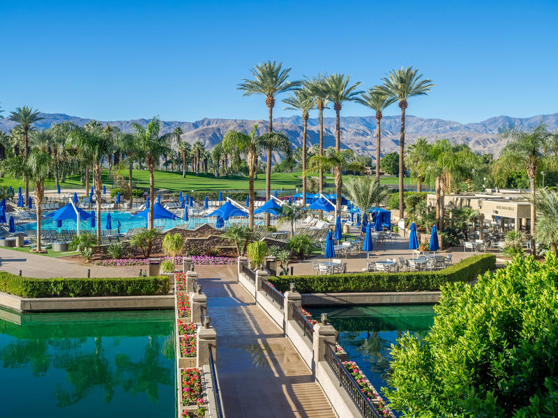 Pools at the JW Marriott Desert Springs. PALM DESERT, CA - NOV 19: View of the Pools at the JW Marriott Desert Springs Resort & Spa on November 19, 2015 in Palm royalty free stock photo