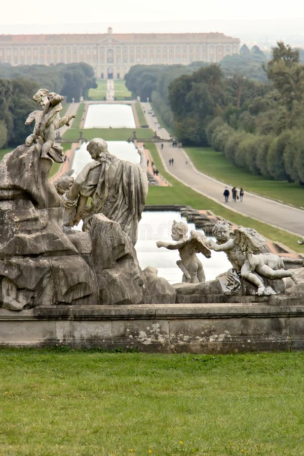 Reggia di Caserta, Italy. 10/27/2018. The pools of the large fountain in the park stock photography
