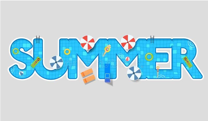 Poolschwimmen-Sommerart Design vektor abbildung