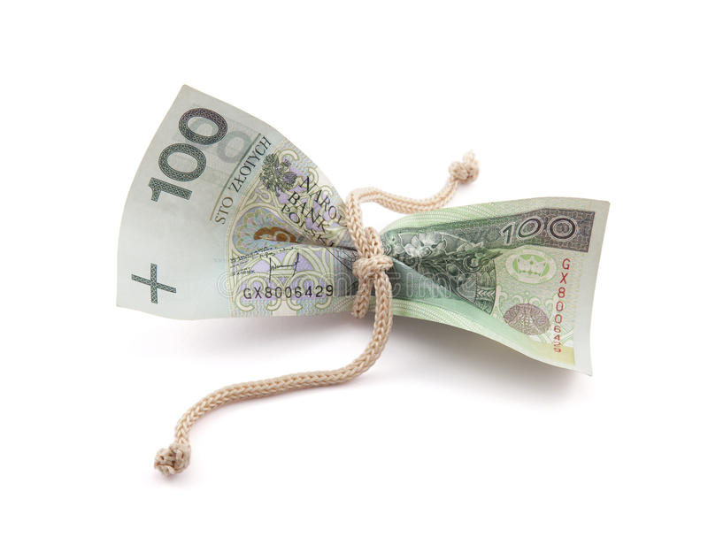 Poolse geld vastgebonden streng stock afbeelding