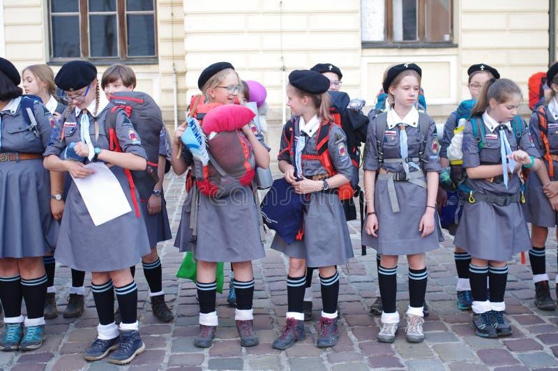 Poolse Padvindsters stock foto
