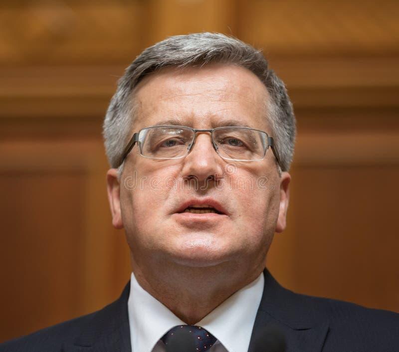 Poolse President Bronislaw Komorowski stock foto's