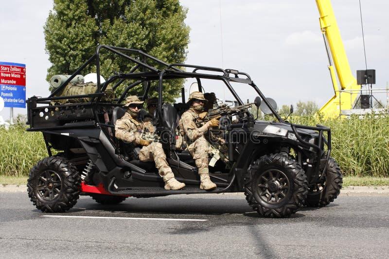 Poolse speciale krachtenmilitairen van JW AGAT op militaire parade in Warshau 15 Augustus 2018 royalty-vrije stock afbeelding