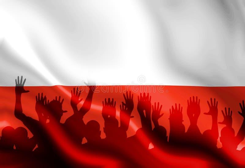 Poolse vlag stock illustratie