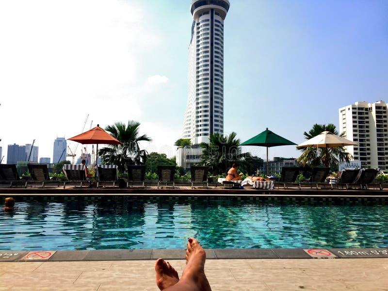 Poolside in Bangkok stock photography