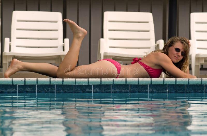 Poolside Bikini Babe stock images