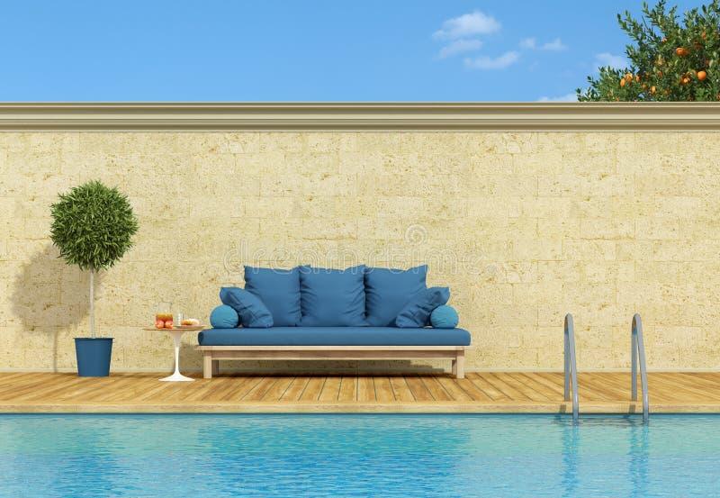 Poolside blu del sofà royalty illustrazione gratis