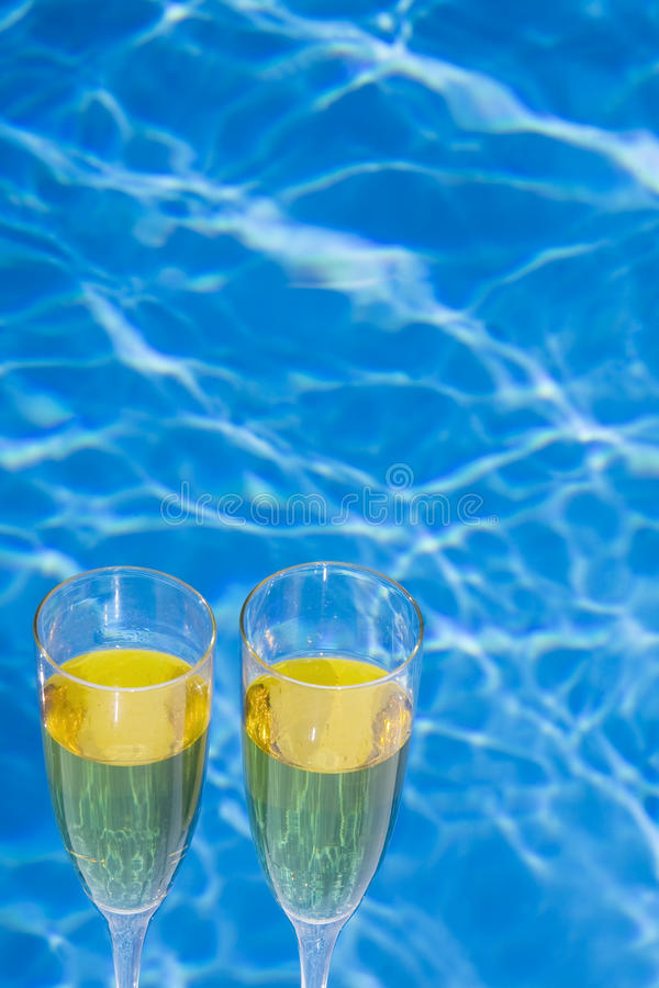Poolside Champagne image stock