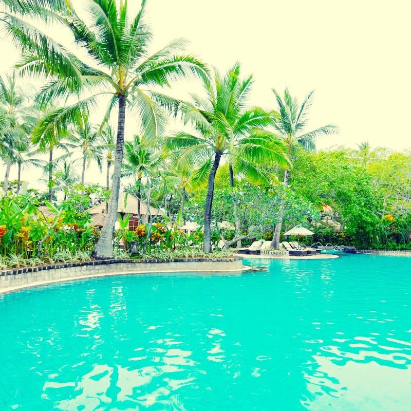 Poolside dans l'hôtel de luxe, Bali, Indonésie photos stock