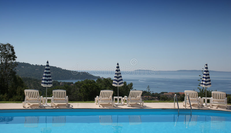 Poolside at le lavandou royalty free stock photography