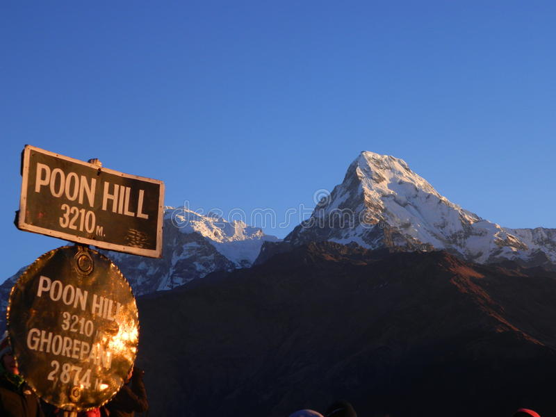 Poon Hill in Annapurnas stock photography