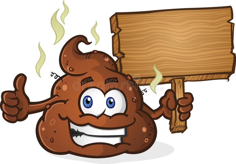 Poop Pile Cartoon Character Thumbs Up and Holding Sign. A smelly pile of cartoon poop holding a wooden sign and giving the thumbs up gesture stock illustration