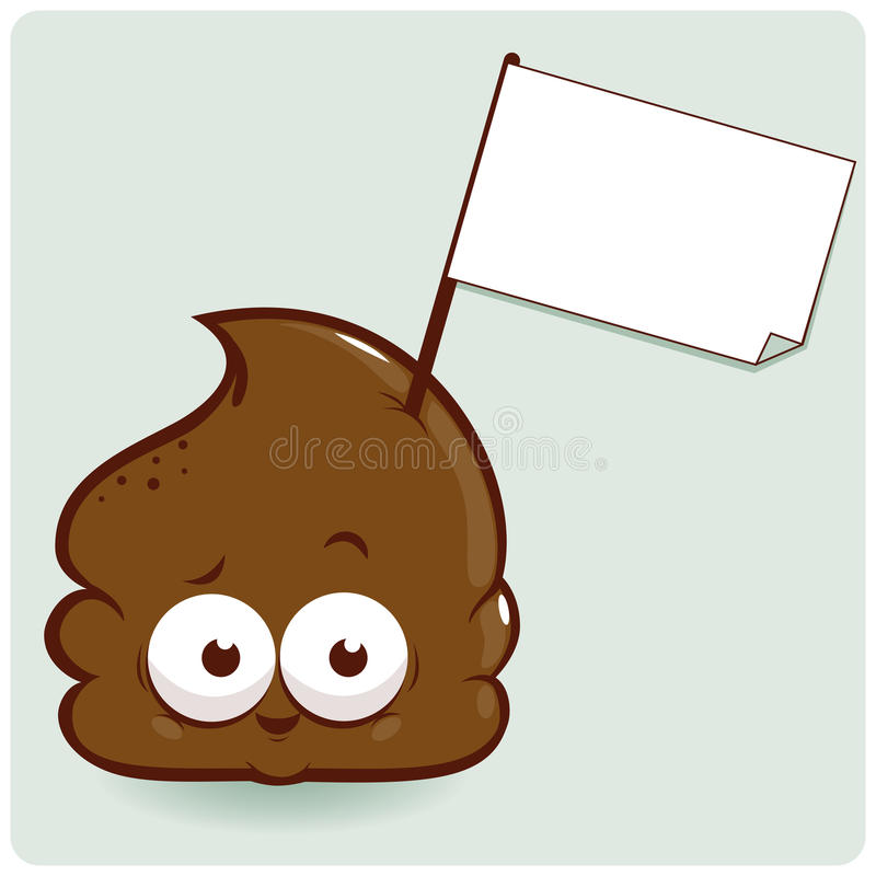 Poop vector mascot with empty sign royalty free illustration