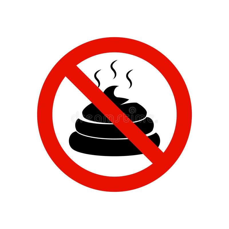 pooping的标志没有准许 警告的排汇物标志动物船尾 Pooping是禁止的被隔绝的标志 向量例证