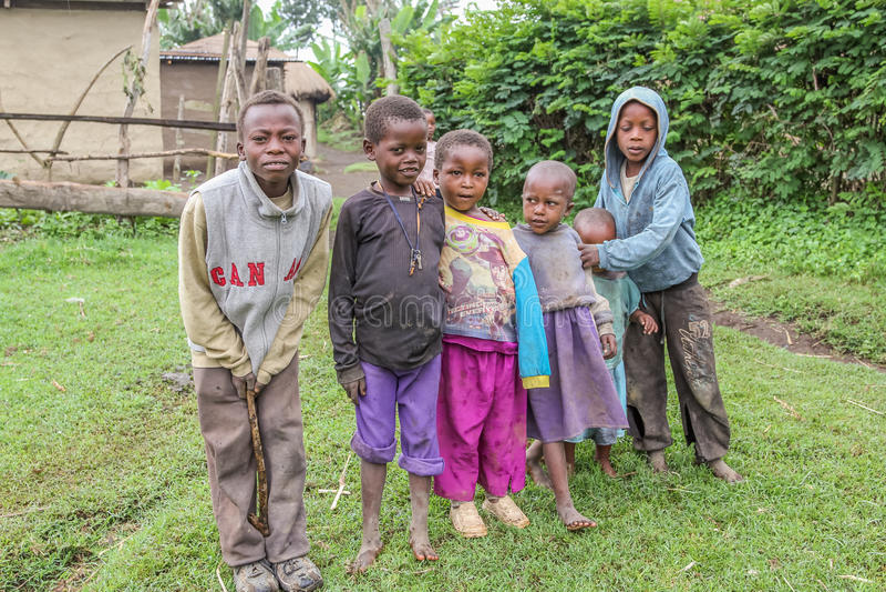 Poor african children. Poor children of Ilkidinga, Waarusha Masai village on the slopes of Mount Meru - Arusha (Tanzania stock photography