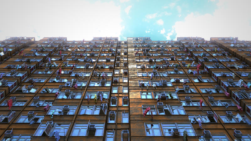 Poor apartment houses perspective view of the sky. 3d rendering, 4k. Poor apartment houses perspective view of the sky CG 3d render. 4k video vector illustration