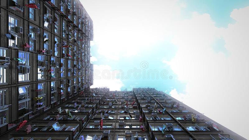 Poor apartment houses perspective view of the sky. 3d rendering, 4k. Poor apartment houses perspective view of the sky CG 3d render. 4k video royalty free illustration