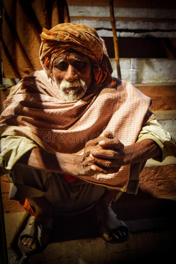 The poor beggar in Varanasi, Uttar Pradesh, India royalty free stock images