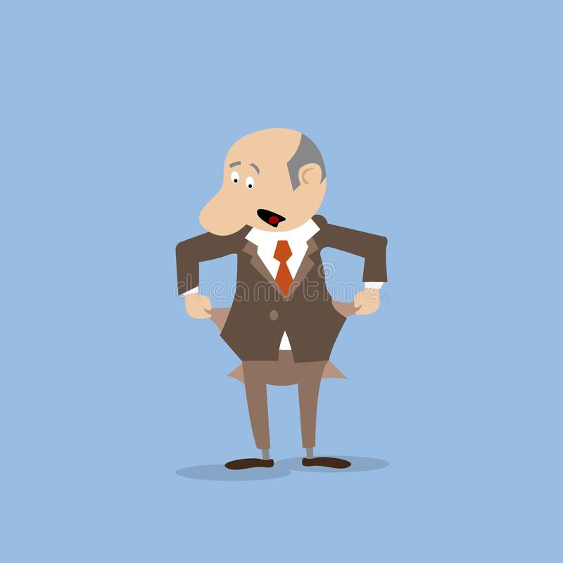 Poor businessman turned out his pockets royalty free illustration