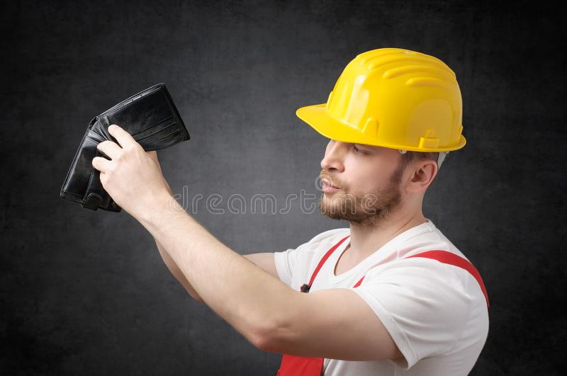 Poor construction worker royalty free stock photography
