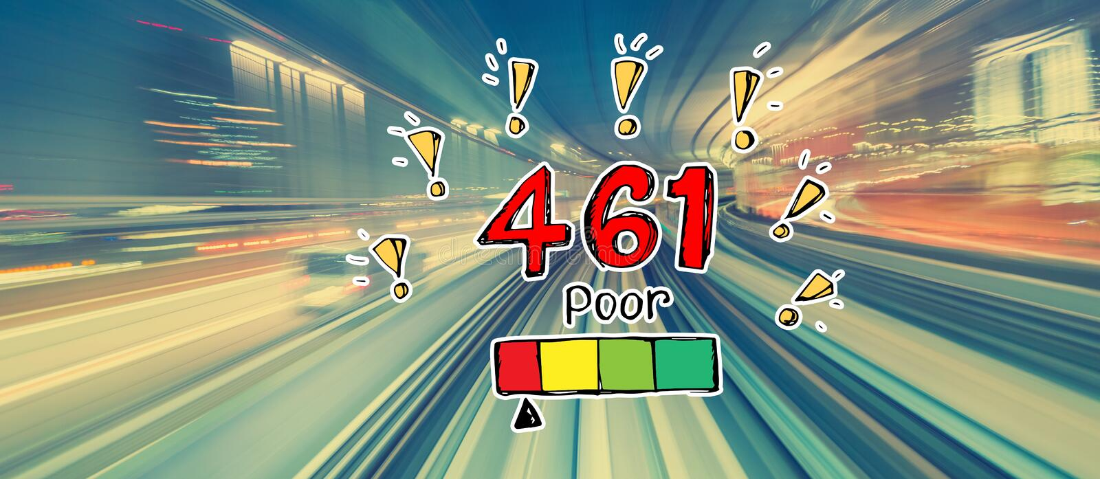 Poor credit score theme with high speed motion blur. Poor credit score theme with abstract high speed technology POV motion blur stock illustration