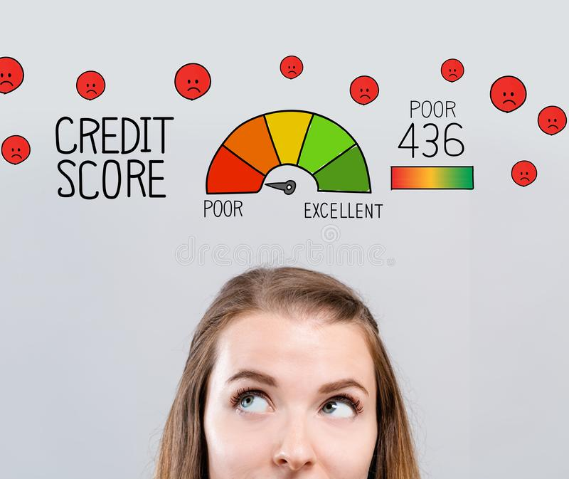 Poor credit score theme with young woman. Looking upwards vector illustration