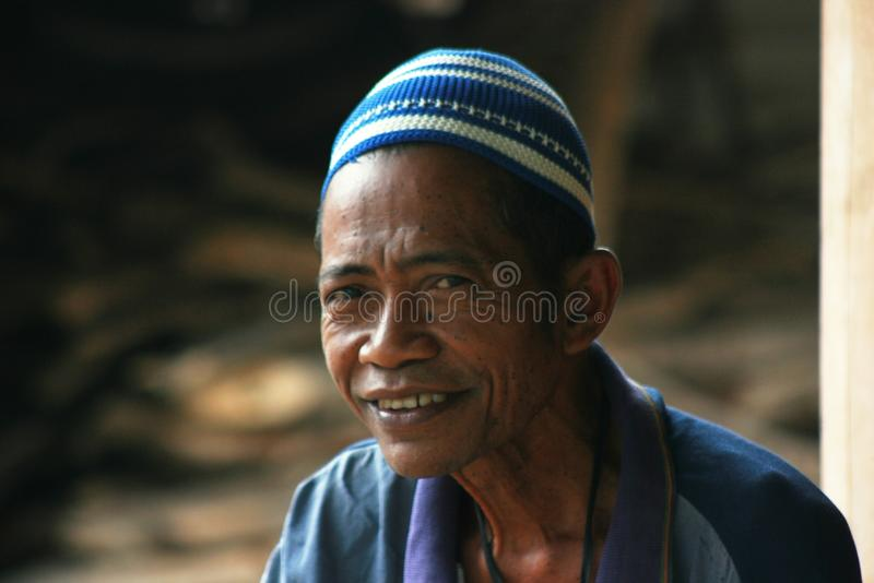 Poor disabled people. In Indonesia who lost his leg royalty free stock photos