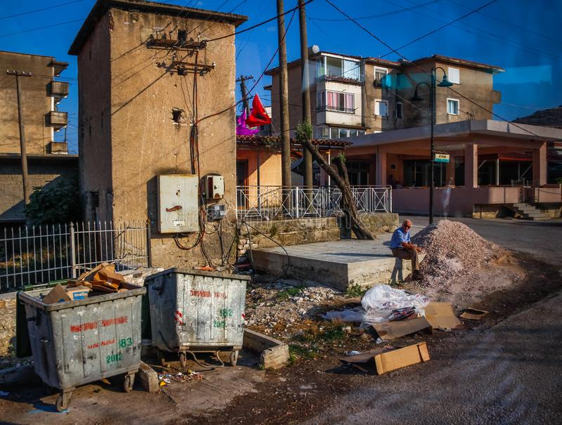 Poor district of Saranda touristic city in Albania. Old town, trash on the street, poverty royalty free stock photo