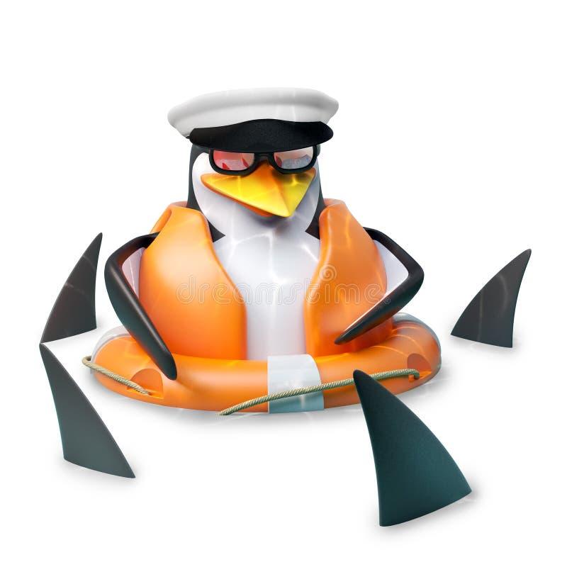 Poor floating sailor penguin in sailors hat is floating amidst a shoal of sharks, 3d illustration. Render stock illustration