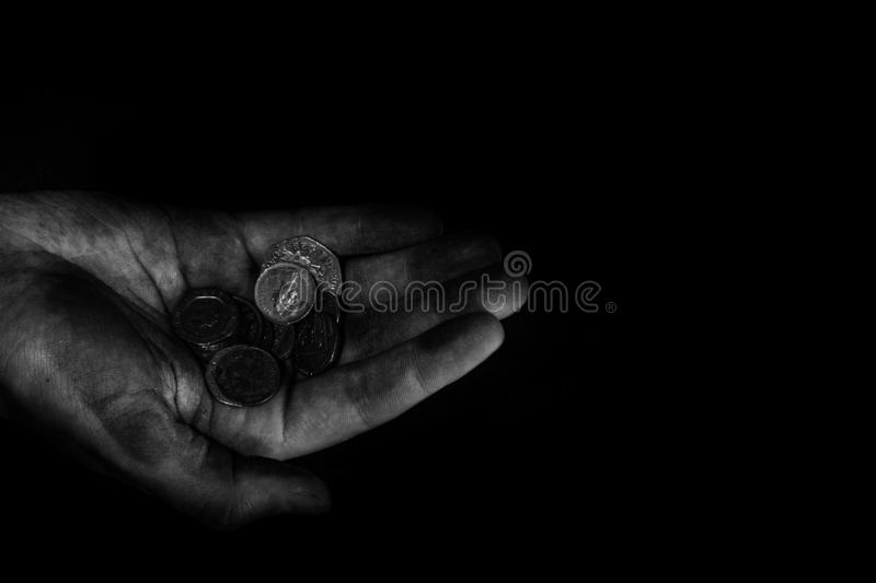 Poor hands royalty free stock photo