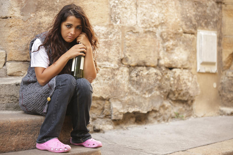Poor homeless girl royalty free stock photos