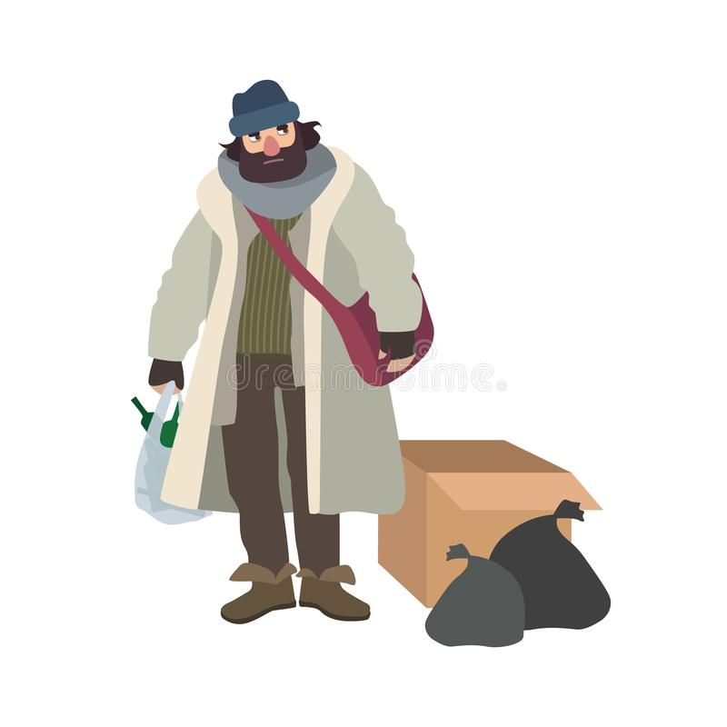 Poor homeless man dressed in ragged clothes standing beside carton box and garbage bags and holding pouch full of glass stock illustration