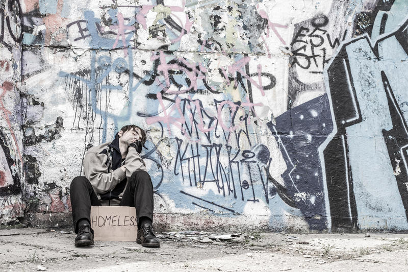 Poor homeless man royalty free stock images