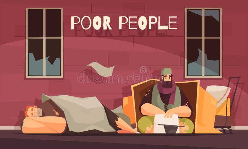 Poor Homeless People Banner stock illustration