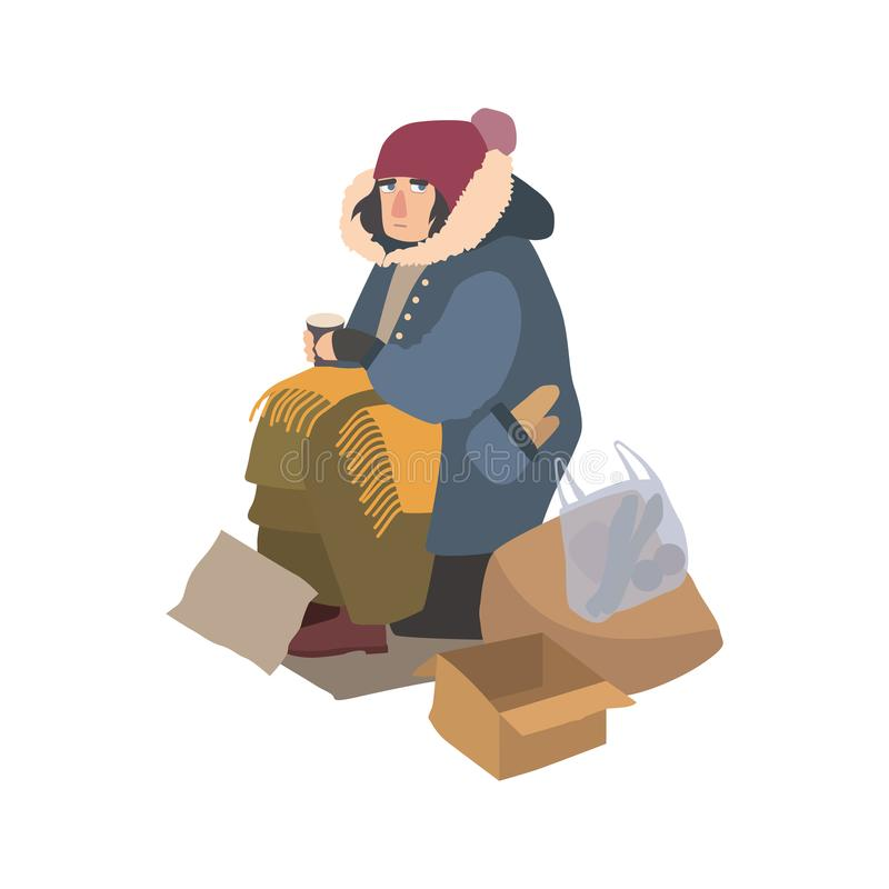 Poor homeless woman dressed in ragged outerwear sitting on street beside pile of garbage, holding paper cup and begging stock illustration