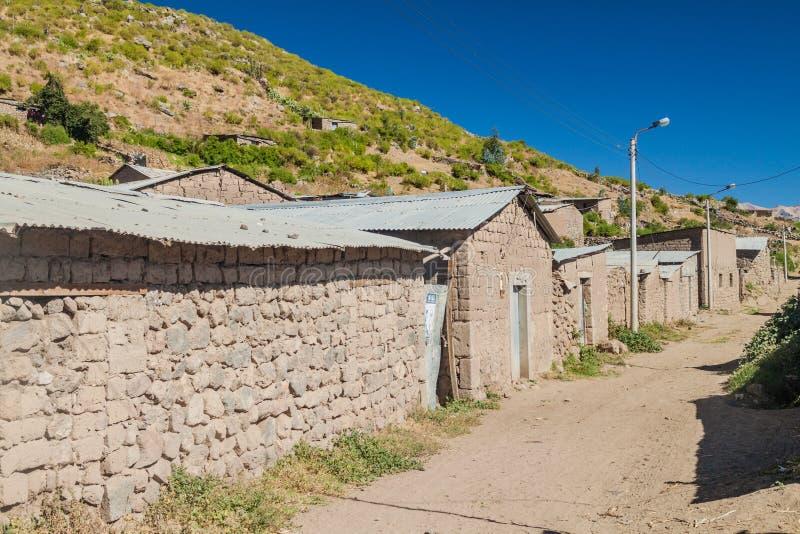 Poor houses in Cabanaconde village stock photo