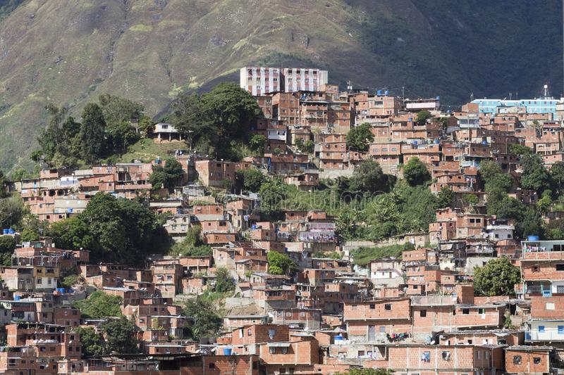 Poor houses in Caracas, Venezuela. View of the Jose Felix Rivas neighborhood, the largest poor neighborhood in Latin America. Caracas Venezuela royalty free stock photography