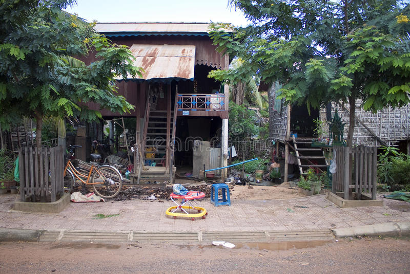 Poor houses in Siem Reap royalty free stock image