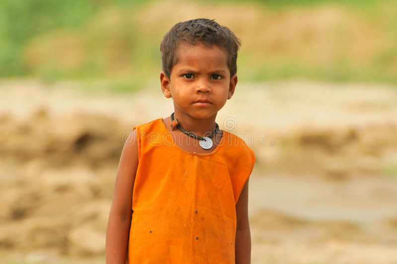 Poor indian child stock images