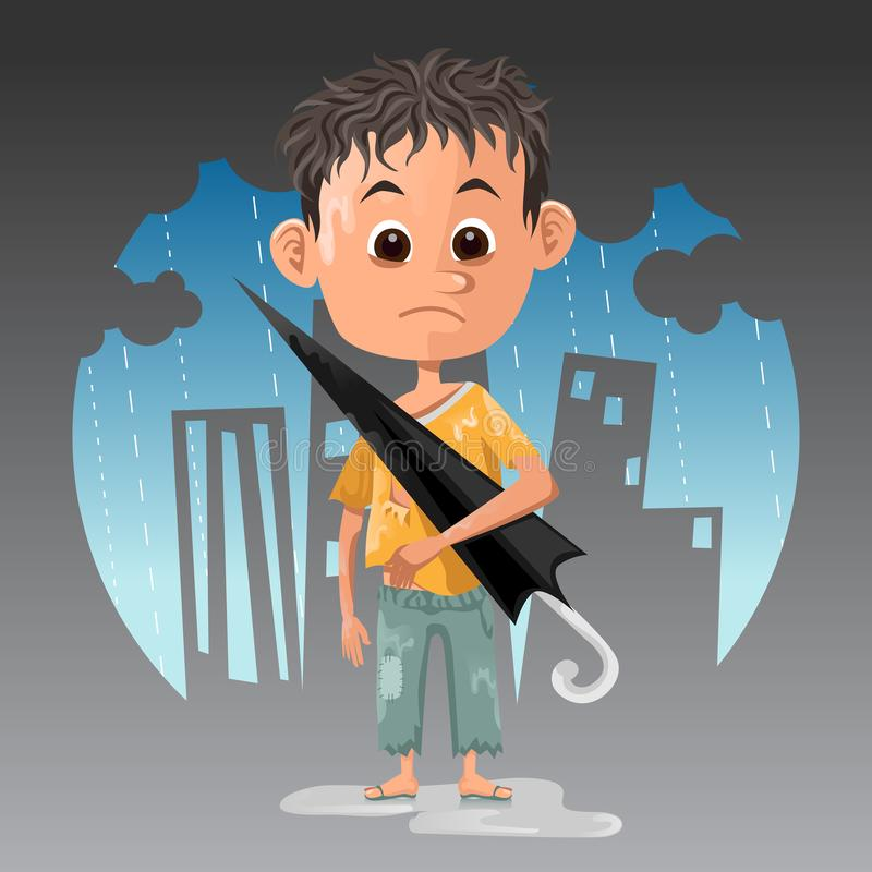 Poor kid labour get caught in rain working as umbrella rental or ojek payung in indonesia vector illustration