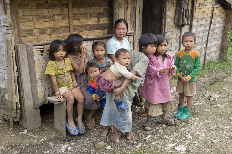 Poor Laotian Hmong Children Editorial Photography