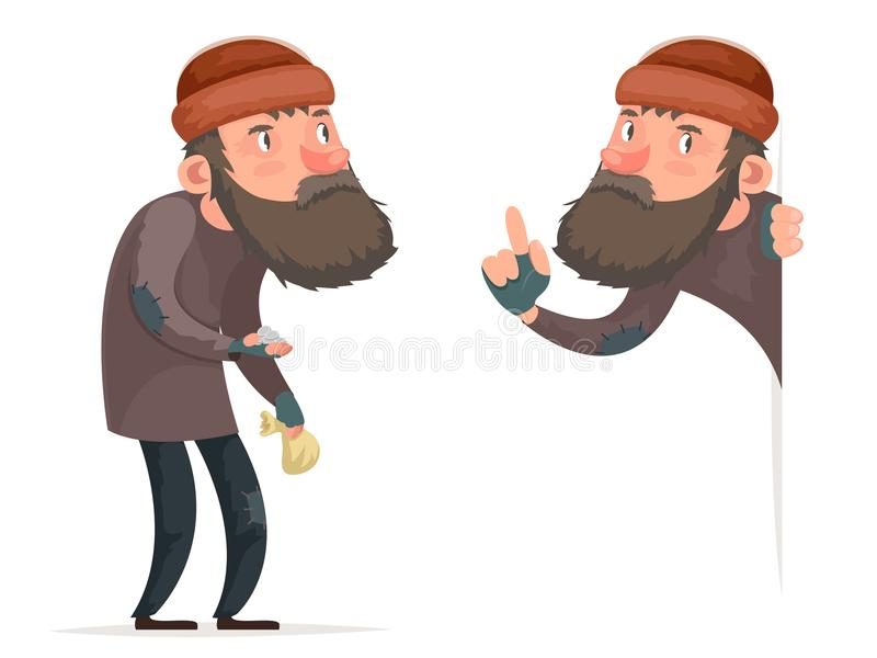 Poor Male Homeless Character Isolated Icon Cartoon Design Template Vector Illustration royalty free illustration