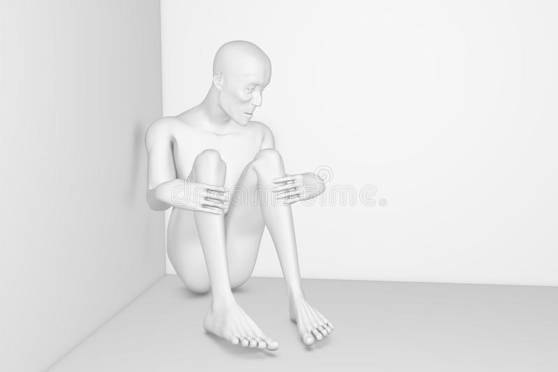 Poor man. The lonely ascetic man, the victim of the poverty vector illustration