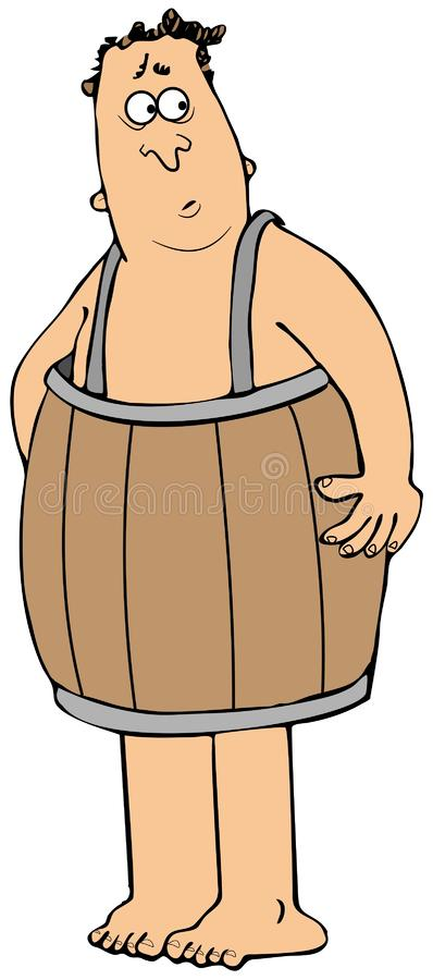 Poor man wearing only a wooden barrel royalty free illustration