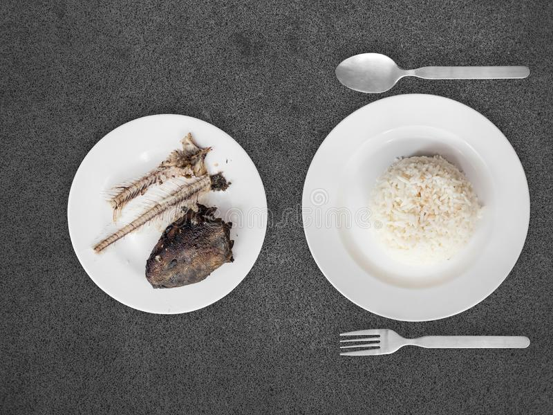 Poor meal of rice and fish bones. Top view of Cheap bad meal of eaten catfish bones and white rice of very poor man stock photo