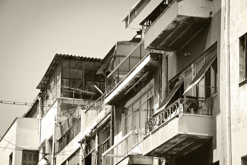 Poor neighborhood. Black and white photo of old buildings in a poor neighborhood royalty free stock images